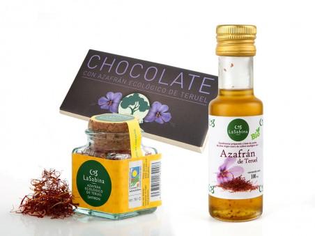 Lote Azafrán Ecológico: azafrán, chocolate y aceite con azafrán