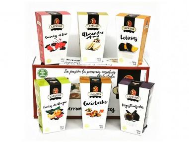 Pack 6 estuches: Frutas de Aragón, Guindas, Leticias, Higos trufados, Almendras rellenas y Guirlache
