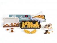 Pack especial Tolosana: 1 Trenza de Almudévar, 1 Caja de Castañas de Mazapán, 1 Caja de 12 Lacitos de Yema y 1 Bolsa de Rocas